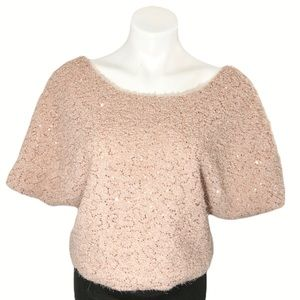 Lush Eyelash Yarn Cropped Sweater Top